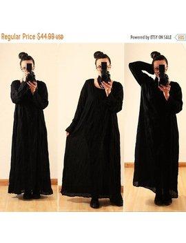 Auf Verkauf Jetzt Frauen Locker Sitzende Leinen Baumwolle Maxi Kleid Lange Ärmel Vintage Plus Size 1 X 2 X 14 16 18 20 Crinkle Lagenlook Schwarz Gothic by Etsy