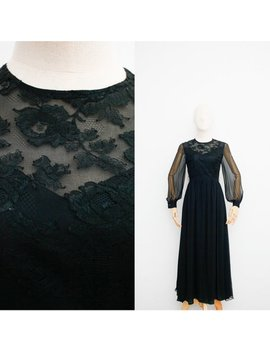Hanae Mori 70er Jahre Vintage Seide Kleid | Japanische Vintage Kleid | Schwarze Seide Georgette Mit Spitze | Maxikleid Party | Edwardian Bischof Ärmel by Etsy