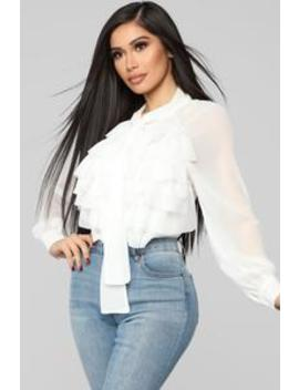 Ruffle Galore Blouse   Ivory by Fashion Nova