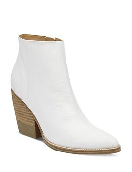 Women's Bellen Stacked Heel Leather Booties by Marc Fisher Ltd.