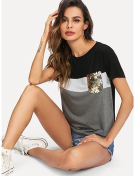 Cut And Sew Sequin Pocket Tee by Shein