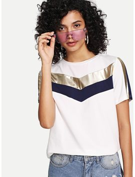 Cut And Sew Solid Tee by Shein
