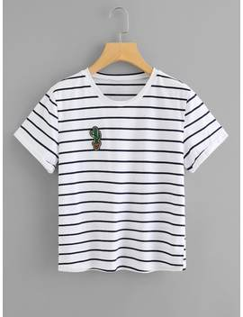 Embroidered Cactus Applique Striped Tee by Shein
