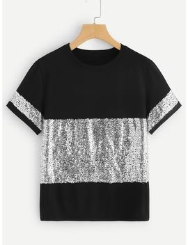 Contrast Sequin Tee by Shein