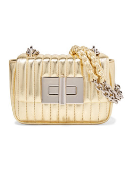Natalia Mini Metallic Quilted Leather Shoulder Bag by Tom Ford