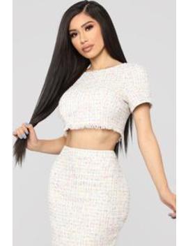 Keep It Chic Skirt Set   White/Multi by Fashion Nova