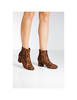 Quiz   Leopard Print Block Heel Ankle Boots by Quiz