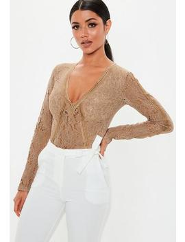 Taupe Sports Tape Bodysuit by Missguided