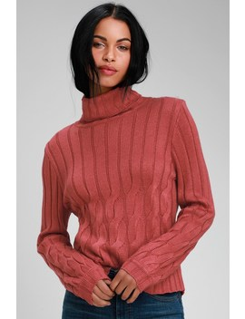 Belfort Rusty Rose Cable Knit Turtleneck Sweater by Lulus
