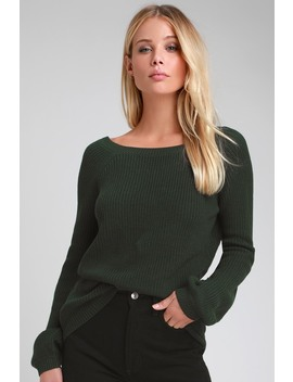 Pursuit Of Happiness Dark Green Backless Sweater by Lulus