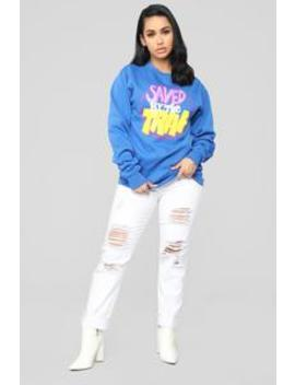 Saved By The Trap Sweatshirt   Blue by Fashion Nova