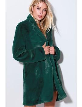 Shipley Forest Green Faux Fur Coat by Lulus
