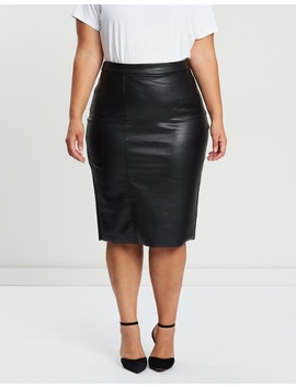Pu Pencil Skirt by Evans