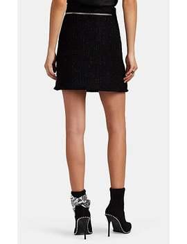 Zip Detailed Metallic Wool Blend Tweed Miniskirt by Alexander Wang