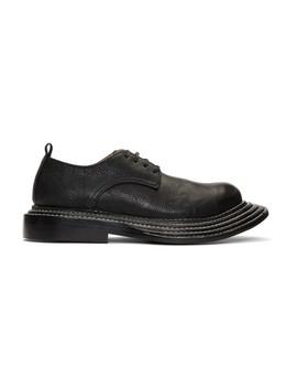 Black Shrunken Leather Derbys by Comme Des GarÇons Homme Plus