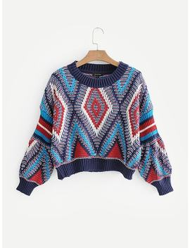 Geo Pattern Drop Shoulder Crop Jumper by Sheinside