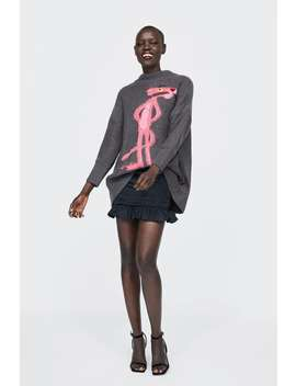 Oversized Pink Panther Sweater  View All Knitwear Woman by Zara