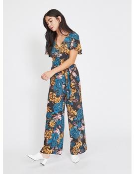 Petite Black Floral Jumpsuit by Miss Selfridge