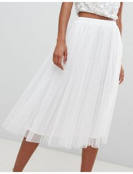 Lace & Beads – Midirock Aus Tüll In Weiß by Asos