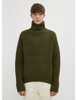 Boxy Ribbed Sweater In Green by Acne Studios