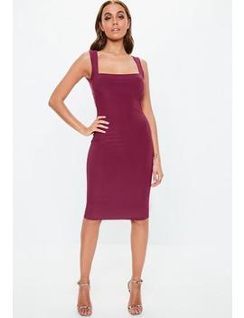 Raspberry Slinky Square Neck Midaxi Dress by Missguided