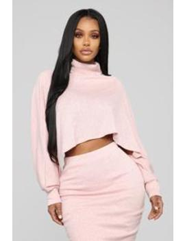 Out In The Cold Sweater Skirt Set   Blush by Fashion Nova