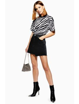 Asymmetric Black Denim Skirt by Topshop