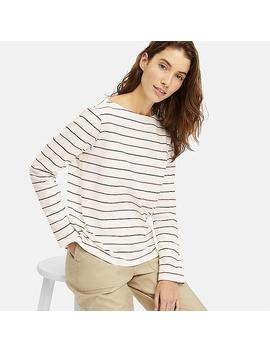 Women Striped Boat Neck Long Sleeved T Shirt by Uniqlo
