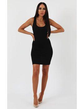 Black Scoop Neck Bodycon Dress   Alex by Femme Luxe
