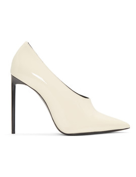 Off White Patent Teddy Heels by Saint Laurent