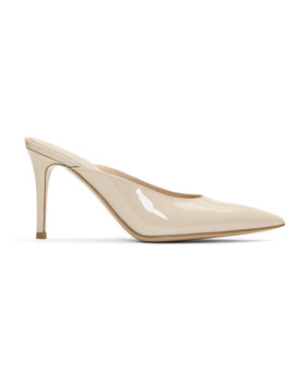Beige Patent Mules by Gianvito Rossi