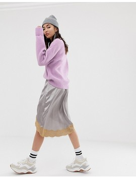 River Island V Neck Jumper In Lilac by River Island