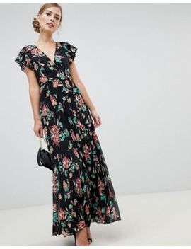 Asos Design Pleated Maxi Dress With Flutter Sleeve In Floral Print by Asos Design