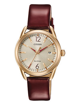 Drive From Citizen Eco Drive Women's Burgundy Leather Strap Watch 34mm Fe6083 05 P by Citizen