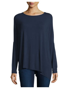 Long Sleeve Asymmetric Tee by Majestic Paris For Neiman Marcus