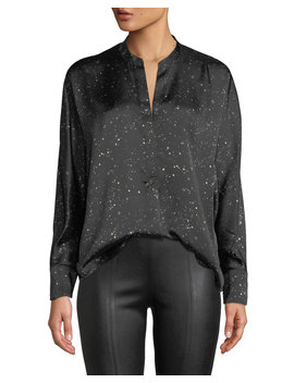 Constellation Print Satin Popover Blouse by Vince