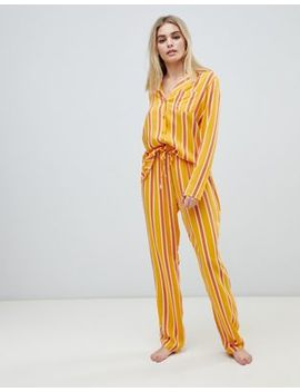 Asos Design Mix & Match Varied Stripe Pants In 100 Percents Woven Modal by Asos Design