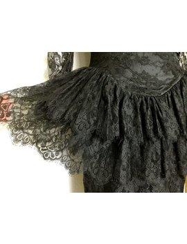1980 Sexy Schwarzen Spitzenkleid Mit Freiliegenden Rückseite by Etsy