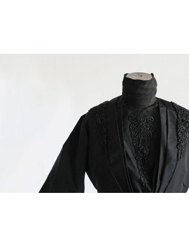 Vintage 1800s Victorian Jet Beaded Bodice / Antique 1900s High Neck Black Mourning Blouse Jacket / 1890s Gigot Sleeve Leg O Mutton Balloon M by Etsy