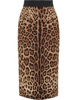 Leopard Print Crepe Midi Skirt by Dolce & Gabbana