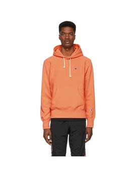 Orange Logo Hoodie by Champion Reverse Weave