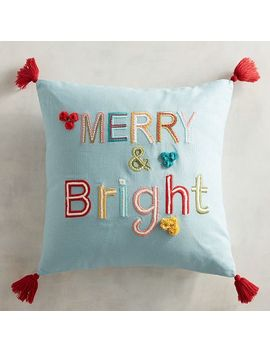 Merrily Merry & Bright Pillow With Tassels by Pier1 Imports
