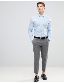 Moss London Extra Slim Smart Shirt In Blue With Stretch by Moss London