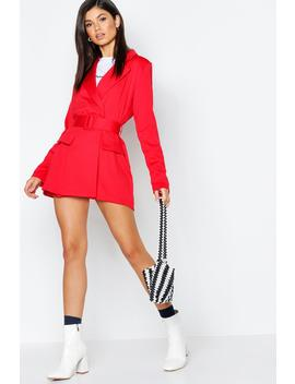 Satin Belted Blazer Playsuit by Boohoo