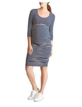 Maternity Stripe Print Shirred Dress by Ingrid & Isabel