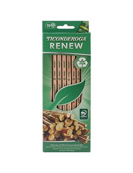 Dixon Ticonderoga Renew Recycled Number 2 Pencils, Natural, 10 Pack (96110) by Dixon Ticonderoga