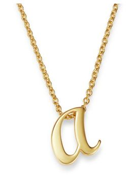 """18 K Yellow Gold Cursive Initial Necklace, 16"""" by Roberto Coin"""