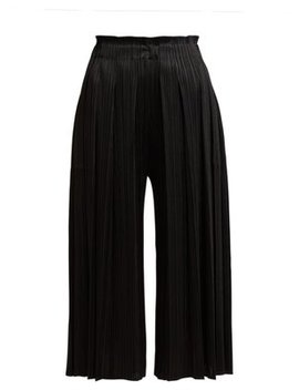 Pleated Cropped High Rise Trousers by Pleats Please Issey Miyake
