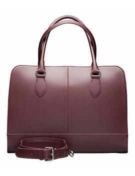 Su.B.Dgn 15.6 Inch Laptop Bag For Women | Split Leather | Professional Designer Briefcase, Handbag, Messenger Bag | Bordeaux Red by Su.B.Dgn