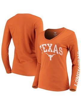 Texas Longhorns Women's Arch Over Logo Long Sleeve V Neck T Shirt   Texas Orange by 289c Apparel